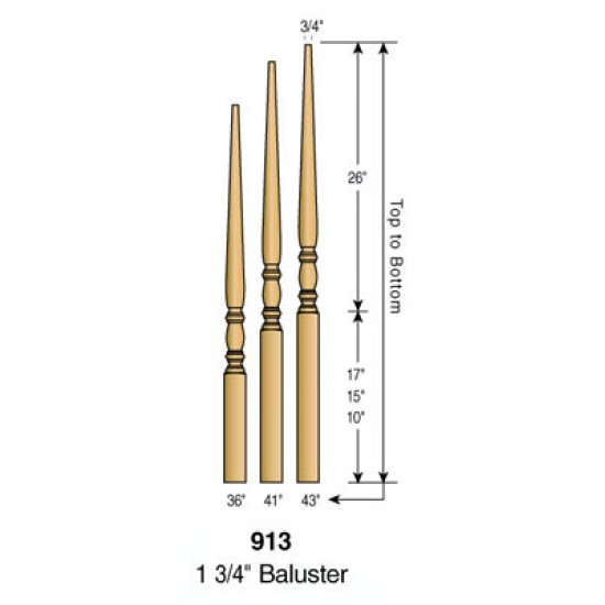 Wood Stair Balusters - Classic Balusters - 913
